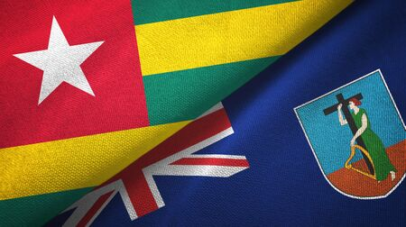 Togo and Montserrat two folded flags together Stock Photo