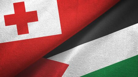 Tonga and Palestine two folded flags together