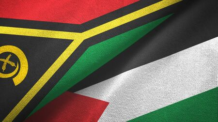 Vanuatu and Palestine two folded flags together