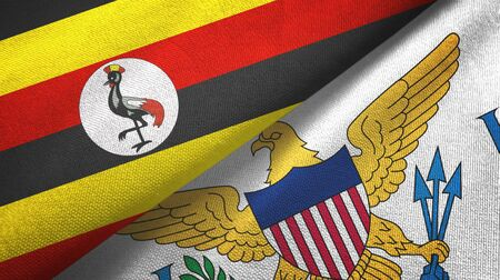 Uganda and Virgin Islands United States two folded flags together 스톡 콘텐츠