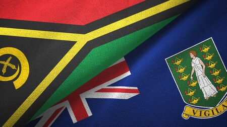 Vanuatu and Virgin Islands British two folded flags together 스톡 콘텐츠