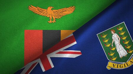 Zambia and Virgin Islands British two folded flags together