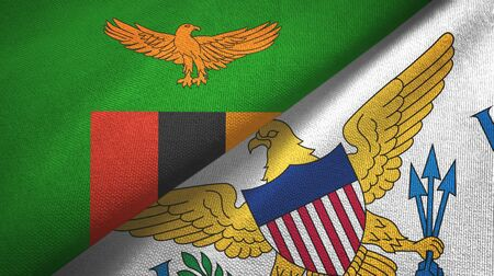 Zambia and Virgin Islands United States two folded flags together