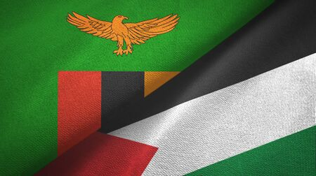 Zambia and Palestine two folded flags together