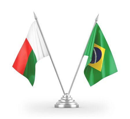 Brazil and Madagascar table flags isolated on white background 3D rendering