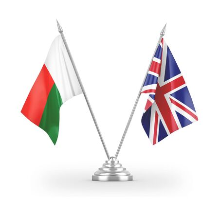 United Kingdom and Madagascar table flags isolated on white background 3D rendering Фото со стока