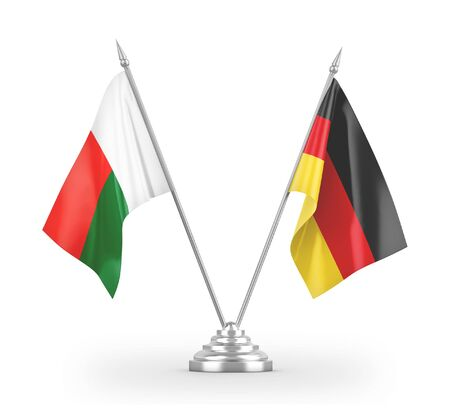 Germany and Madagascar table flags isolated on white background 3D rendering