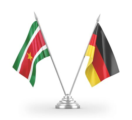 Germany and Suriname table flags isolated on white background 3D rendering