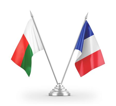 France and Madagascar table flags isolated on white background 3D rendering Фото со стока - 139694389