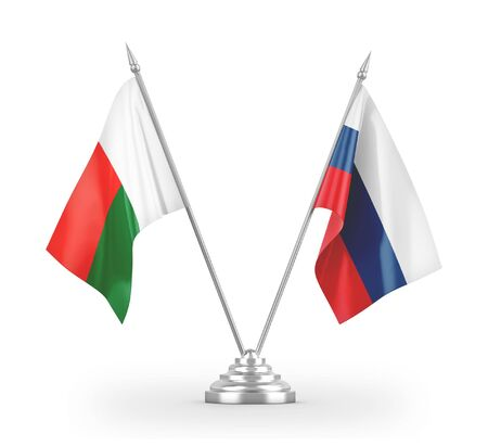 Russia and Madagascar table flags isolated on white background 3D rendering