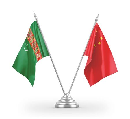China and Turkmenistan table flags isolated on white background 3D rendering