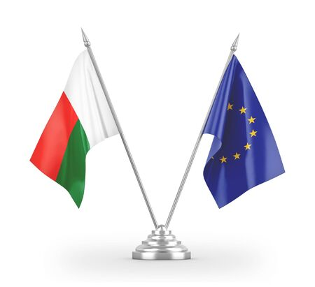 European Union and Madagascar table flags isolated on white background 3D rendering Фото со стока - 139695289
