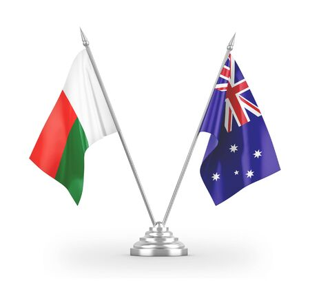 Australia and Madagascar table flags isolated on white background 3D rendering