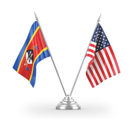 United States and Eswatini Swaziland table flags isolated on white background 3D rendering  免版税图像