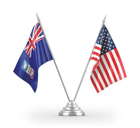 United States and Falkland Islands table flags isolated on white background 3D rendering 免版税图像