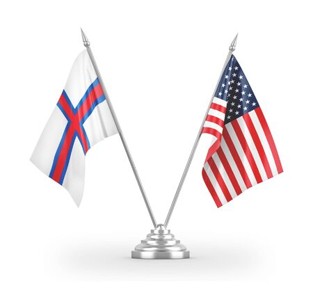 United States and Faroe Islands table flags isolated on white background 3D rendering 免版税图像