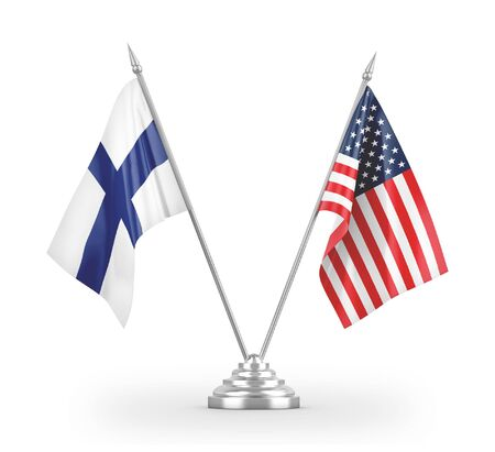 United States and Finland table flags isolated on white background 3D rendering