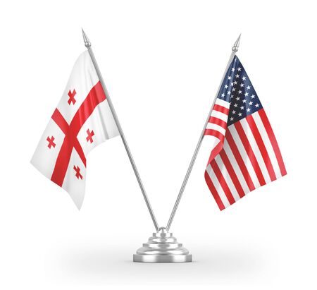 United States and Georgia table flags isolated on white background 3D rendering