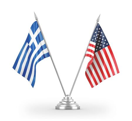United States and Greece table flags isolated on white background 3D rendering