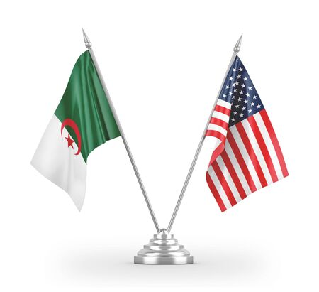 United States and Algeria table flags isolated on white background 3D rendering 免版税图像