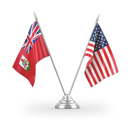United States and Bermuda table flags isolated on white background 3D rendering