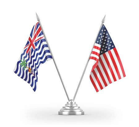 United States and British Indian Territory table flags isolated on white background 3D rendering 免版税图像
