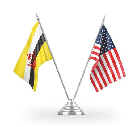 United States and Brunei Darussalam table flags isolated on white background 3D rendering