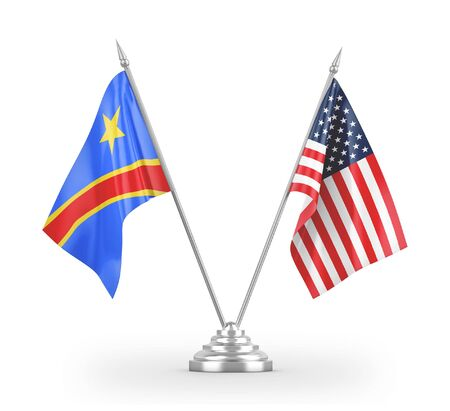United States and Congo Democratic Republic table flags isolated on white background 3D rendering