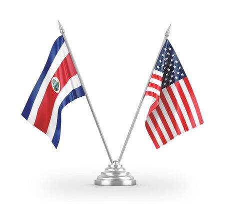 United States and Costa Rica table flags isolated on white background 3D rendering 免版税图像