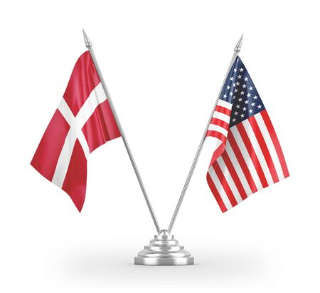 United States and Denmark table flags isolated on white background 3D rendering