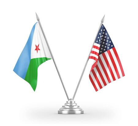 United States and Djibouti table flags isolated on white background 3D rendering