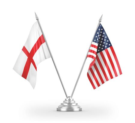United States and England table flags isolated on white background 3D rendering 免版税图像