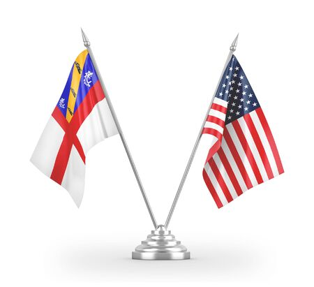 United States and Herm table flags isolated on white background 3D rendering