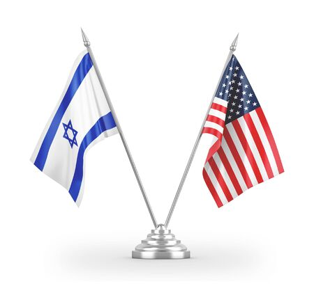 United States and Israel table flags isolated on white background 3D rendering