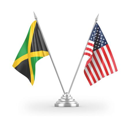 United States and Jamaica table flags isolated on white background 3D rendering