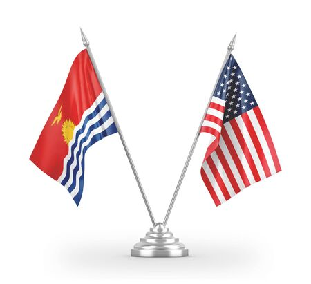United States and Kiribati table flags isolated on white background 3D rendering