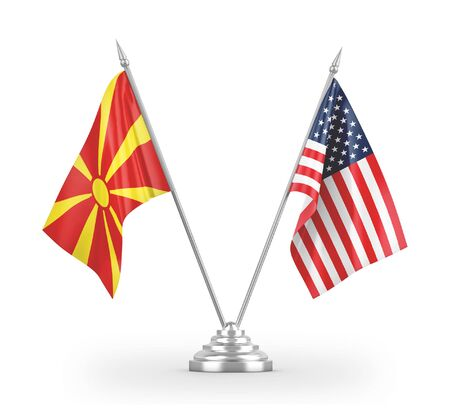 United States and North Macedonia table flags isolated on white background 3D rendering 免版税图像