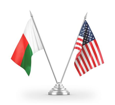 United States and Madagascar table flags isolated on white background 3D rendering