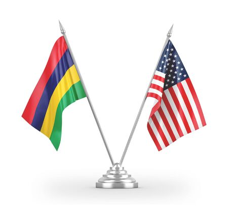 United States and Mauritius table flags isolated on white background 3D rendering 免版税图像