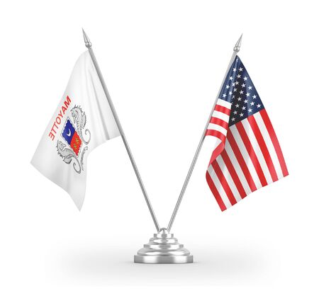 United States and Mayotte table flags isolated on white background 3D rendering