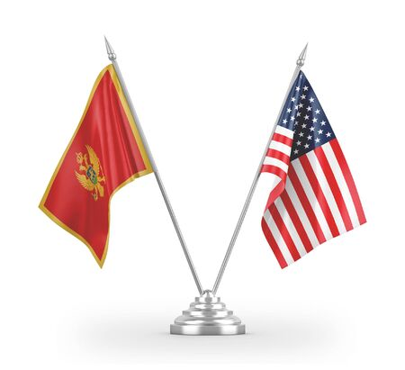 United States and Montenegro table flags isolated on white background 3D rendering