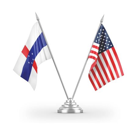 United States and Netherlands Antilles table flags isolated on white background 3D rendering 免版税图像
