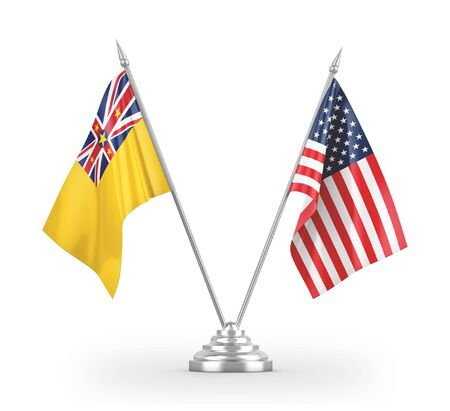 United States and Niue table flags isolated on white background 3D rendering 免版税图像