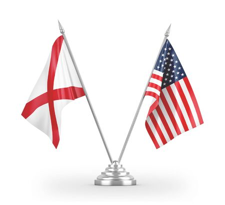United States and Northern Ireland table flags isolated on white background 3D rendering 免版税图像