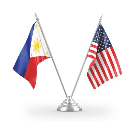 United States and Philippines table flags isolated on white background 3D rendering