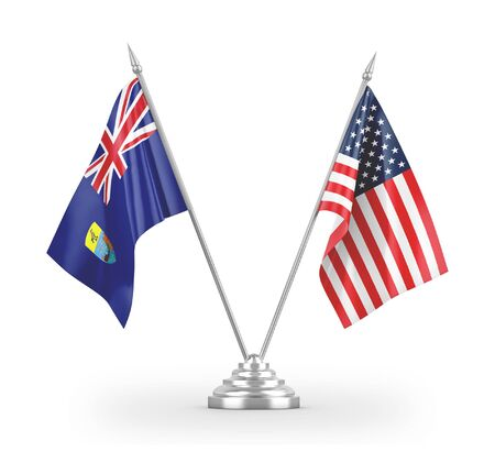 United States and Saint Helena table flags isolated on white background 3D rendering 免版税图像