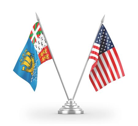 United States and Saint Pierre and Miquelon table flags isolated on white background 3D rendering