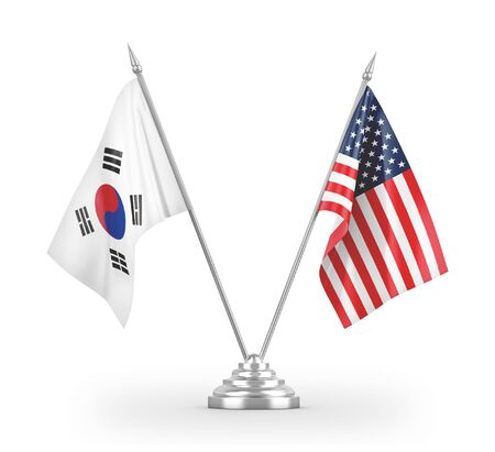 United States and South Korea table flags isolated on white background 3D rendering