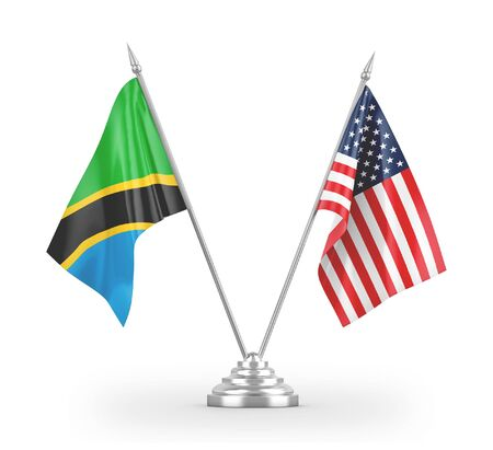 United States and Tanzania table flags isolated on white background 3D rendering
