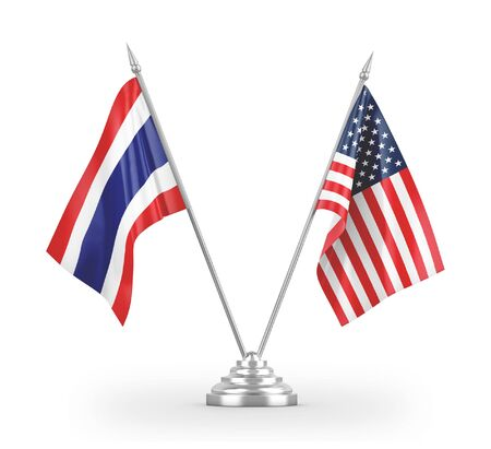 United States and Thailand table flags isolated on white background 3D rendering 免版税图像